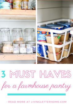 The best budget items for your own farmhouse style pantry organization Glass Storage Jars, Jar Storage, Kitchen Organization Pantry, Bathroom Organization, Modern Farmhouse Decor, Farmhouse Design, Pantry Baskets, Farm House Colors, Living Room Styles