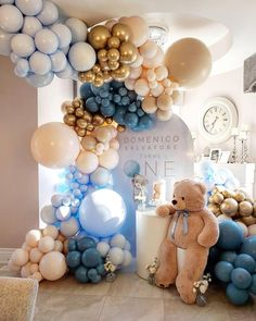 Décoration Baby Shower, Teddy Bear Baby Shower, Baby Shower Balloons, Baby Shower Parties, Baby Shower Themes, Bear Baby Showers, Baby Boy Shower Decorations, Girl Shower, Balloon Garland