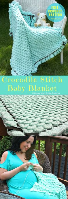 This pattern can be made in any color, it's up to you. Turquoise, rainbow, blue etc... This is an amazing idea, perfectly designed it's ideal for coming spring and summer. #CrocodileStitch #CrochetBabyBlanket #FreePattern Crochet → Stitch to Blanket | size: any | Written & Tutorial | US Terms Level: upper beginner yarn: Bernat Softee Baby Solids & Marls / DK (11 wpi) Hook: 5.5 mm (I) Author: Bonita Patterns