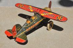 Vintage Wind Up NR 88 Lockheed J-BAMC ETC Trademark Litho Airplane Tin Toy Japan