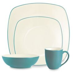 Noritake® Colorwave Turquoise Square 4-Piece Place Setting - BedBathandBeyond.com