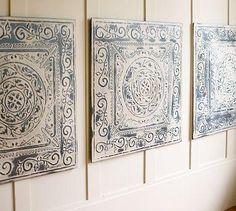 Suzie: Art/Wall Decor - Vintage Tin Tiles, Set of 3 | Pottery Barn - vintage, tin, blue, tiles