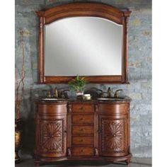 "54"" Silkroad Alexandra - Double Sink Cabinet Bathroom Vanity - WFH-0201-BB-UWC-54 #BathroomRemodel #BlondyBathHome #BathroomVanity  #TraditionalVanity"