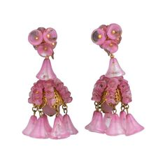 Miriam Haskell Rose Glass Chandelier Earrings For Sale
