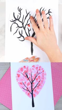 We have another love filled arty-crafty project to share with you – this Valentines Day Heart Fingerprint Tree is perfect both for kids and kids at heart. Valentine Day Video, Valentines Day Drawing, Kinder Valentines, Valentines Day Hearts, Valentines For Kids, Valentine Day Crafts, Fingerprint Art, Valentine's Day Crafts For Kids, Paper Crafts Origami