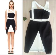 Monochrome Crossover Dress with Side Panel Skirt