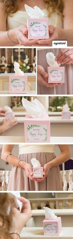 Happy Tears Handkerchiefs in the Box - DIY Project - Hochzeit: Trends, Inspirationen und kreative Idee Pinterest Tutorial, Pinterest Diy, Diy Wedding Decorations, Wedding Favors, Wedding Bride, Vintage Party Foods, Christmas Gadgets, Happy Tears, Vintage Christmas Ornaments