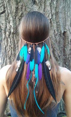 Rain Dance, Feather, headband, native, american, style, indian, hippie, bohemian, wedding, veil, turquiose, blue, purple, boho, gypsy, edm by dieselboutique on Etsy https://www.etsy.com/listing/214416708/rain-dance-feather-headband-native