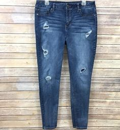 8c396548130 Maurices Womens Jeans Jeggings Destroyed Wash Size XL Dark Distressed High  Rise  Maurices Women s Jeans