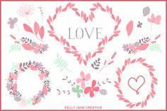 Valentine Wreaths & Flowers Vector by Kelly Jane Creative on Creative Market - · grafico · - Decoupage Printables, Modern Crafts, Doodle Patterns, Valentine Wreath, Diy Embroidery, Craft Party, Happy Valentines Day, Diy For Kids, Creative