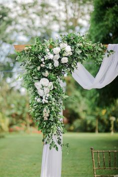 White and green wedding ceremony decor, wedding arch, wedding flowers, draping. Simple Wedding Arch, White Wedding Arch, Wedding Arch Flowers, Wedding Arch Rustic, Wedding Ceremony Arch, Wedding Venues, Summer Wedding Decorations, Decor Wedding, Aisle Decorations