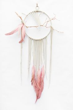 "Branch Dreamcatcher, Flamingo - 10"", ivory white leather dream catcher by BartonHollow on Etsy https://www.etsy.com/listing/260973576/branch-dreamcatcher-flamingo-10-ivory"