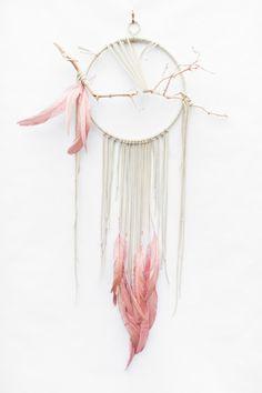 "Branch Dreamcatcher, Flamingo - 10"", ivory white leather dream catcher"