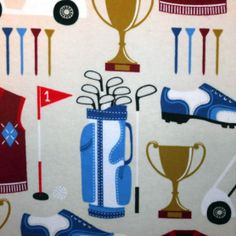 Snuggle Flannel Fabric- Golf Items, , hi-res