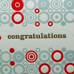Adore! Congratulations Letterpress Card  Circle Pattern by letterpress, $4.50