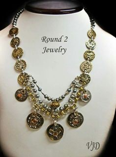 ROUND TWO JEWELRY MADE FROM ANTIQUE BUTTONS  at Vintage Jewelry Design ~ VJD