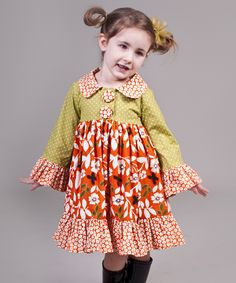 Orange & Green Maple Lilly Dress - Toddler & Girls | Daily deals for moms, babies and kids