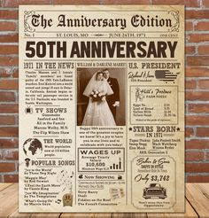 50th Anniversary Newspaper Photo Poster, 1971 Anniversary Gift, 50th Anniversary Party Sign, 50th Gold Anniversary Gift Board, Personalized