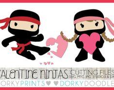 Valentine Cuttable Files, Girl and Boy Heart Ninjas -For Cutting Machines - svg, mtc, jpg, studio 3, and dxf files, Ninja SVG