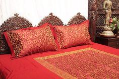 Sleeping just got better!  Red Kela Sari Bed Cover Set -Tara Design