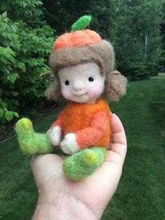 Needle felted Miss Pumpkin by Barb Soet