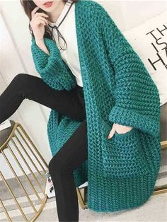 Solid Color Middle and Long Paragraph Sweater Cardigan is on sale at reasonable prices, having a beautiful sweater & cardigan, you can own a beautiful autumn. Crochet Coat, Crochet Jacket, Crochet Cardigan, Crochet Clothes, Sweater Cardigan, Diy Summer Clothes, Diy Clothes, Clothes For Women, Long Paragraphs