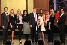 Eric Trump (1st marriage), Ivanka Trump (1st marriage), Tiffany Trump (2nd marriage), O, Donald Trump, Barron Trump (current (3rd) marriage), Melania Trump (Donald's wife), Kai Trump (Don Jr.'s daughter), Vanessa Trump (Don Jr.'s wife), Donald Trump III (Don Jr.'s son), Donald Trump Jr. (1st marriage). 3 more grandkids have been born since then; Don Jr. & Vanessa have 2 more sons (Tristan & Spencer) & Ivanka has a girl named Arabella with her husband Jared Kushner (she is pregnant with #2).