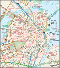 City of Boston Map - Guide to Boston, Massachusetts