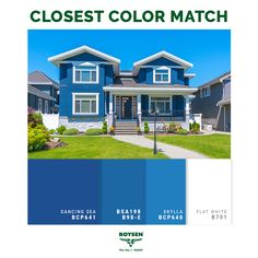 """Blue for Exterior Walls: Though considered """"bold"""" as compared to the usual neutral color schemes, blue can give your home a casual and relaxed feel all year round. Just like in a room, the blue-and-white combination looks good on your façade, giving off a timeless, crisp and clean feel. #decoratingtips #painting #facade #exterior #blue Neutral Color Scheme, Colour Pallette, Color Schemes, Matching Paint Colors, Paint Colours, House Paint Exterior, Home Hacks, House Painting, House Colors"""