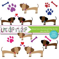 Dachshund Doxie Love Clip Art Set dog clip art, dog clipart, dachshund clip art for scrapbooking