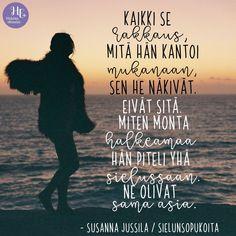 """Mitä ajatuksia tämä runo sinussa herättää? 💜 Lisää Susanna Jussilan runoja löydät Sielun sopukoita -päiväkirjasta 👉 hidasta.fi/puoti #runo #sielunsopukoita @flowsister.fi   """"Kaikki se rakkaus, mitä hän kantoi mukanaan, sen he näkivät. Eivät sitä, miten monta halkeamaa hän piteli yhä sielussaan. Ne olivat sama asia."""" 💜 Some Quotes, Happy Moments, Perspective, Motivational Quotes, Poems, In This Moment, Love, Movie Posters, Amor"""