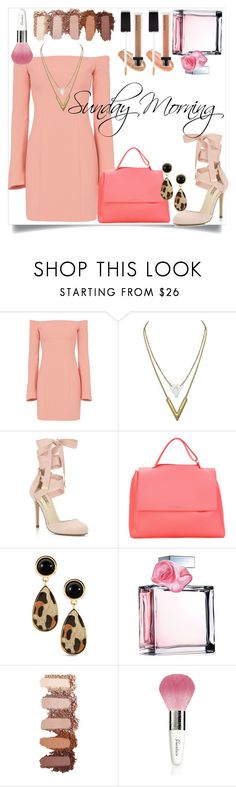 """Sunday Morning Service"" by blackadonia ❤ liked on Polyvore featuring Cinq à Sept, Miss Selfridge, Orciani, Ralph Lauren, Guerlain, Nanacoco, peach, soft, sunday and Church"