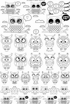 93 CALCOS PARA PORCELANA 750º a 800 Owl Clip Art, Owl Art, Owl Doodle, Doodle Art, Owl Patterns, Embroidery Patterns, Owl Outline, Owl Coloring Pages, Animal Sweater