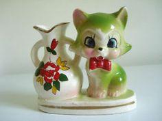 Vintage Japan Lime Green Cat Kitten w Floral Vase Figurine Big Wide Eyes Comical