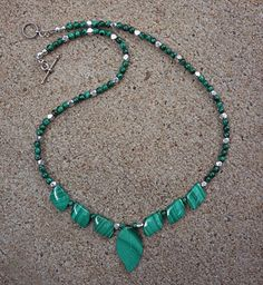 19 Inch Genuine Natural Grade AA Malachite Leaf Necklace in Sterling Silver by EurekaSpringsRocks
