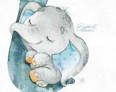 Watercolor little animal clipart africa child blue booties bib family sleep greeting kid baby-born babyshower Image Elephant, Elephant Art, Baby Elephant, Elephant Nursery Decor, Scrapbooking Image, Baby Animals, Cute Animals, Baby Painting, Animal Illustrations