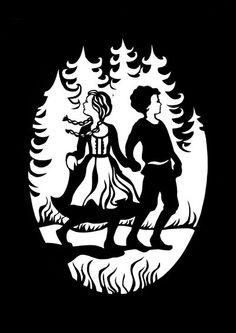 """Papercut series Grimm's Fairy Tales: """"Hansel and Gretel in the Forest"""" - love the use of negative and positive space here, especially the trees."""