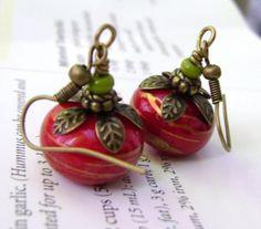 Red Earrings Rondelle