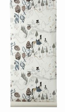 Mountain Friends Wallpaper for Kids Room, Ferm Living