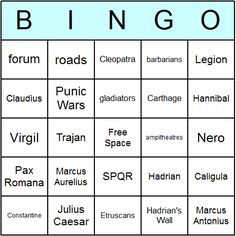 Ancient Rome Printables | Ancient Rome Bingo Cards - Printable bingo activity, game, and ...