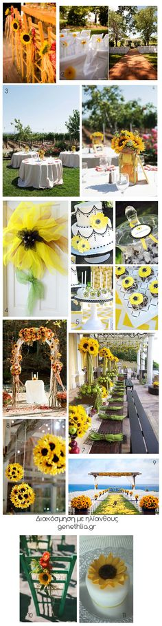 Sunflowers: 10 decorating ideas for parties and weddings! LOOOVE LOVE LOVE!!!!