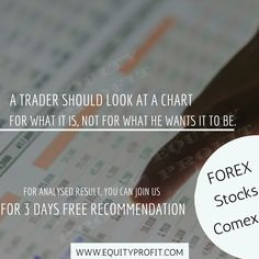 A TRADER SHOULD LOOK AT A CHART  FOR WHAT IT IS, NOT FOR WHAT HE WANTS IT TO BE. - WWW.EQUITYPROFIT.COM Investment Quotes, He Wants, Investing, Chart