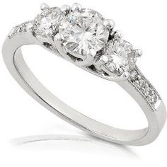 Did anyone know that Amazon sold engagement rings? Look at this beautiful 1 1/2 Carat Three Stone Diamond ring. Featuring high quality 14k white gold, this ring sure is a looker!