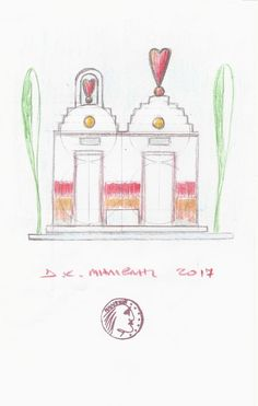 "Dimitris C. Milionis ""MYKONOS CHURCHES""  Signed Drawing on 80gr Paper Greek 2017 #PopArt"