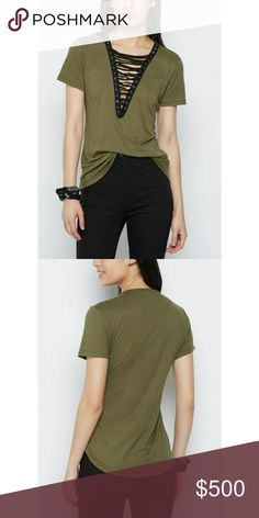 💥COMING SOON💥 Olive Lace Up Tee A tee with some edge, this top is made with super soft brushed knit for all day comfort. It rocks a deep V cut neckline that laces up the front. 92% Polyester 8% Spandex. Also available in blush, maroon, black, and camo. Tops Tees - Short Sleeve