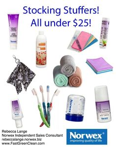 The picture only shows some of the incredible Norwex goodies that are available for under $25 - click here to see the full list! http://www.fastgreenclean.com/2013/10/norwex-gift-guide-by-price.html We have: 13 items under $10 15 items between $10 and $15 17 items between $15 and $20 8 items between $20 and $25 Share the gift of a healthier home with your friends and family this holiday season :)