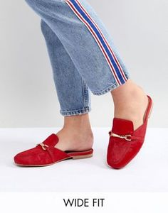 ae5ec11cdf1 ASOS DESIGN Movie Wide Fit Leather Mule Loafers