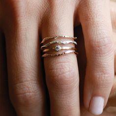 Shining Warrior Set | 3 Ring Set | Gold Ring Set |  Nature Inspired Rings