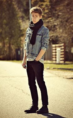 H&M Black Denim Jeans, H&M Black Scarf, Primark Denim Jacket, Pull & Bear Black Shoes, Primark Striped T Shirt