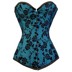 FC-1010 - Turquoise Flock Overbust Corset